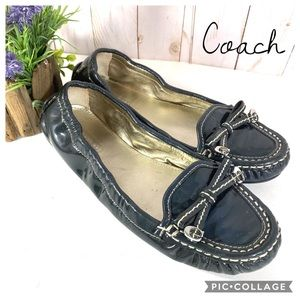 Coach Isabelle blue patent leather driving loafers